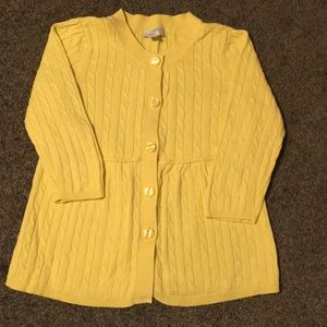 LOFT Yellow Cable Knit Cardigan Size S